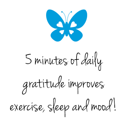 5 minutes of gratitude improves exercise, sleep and mood!